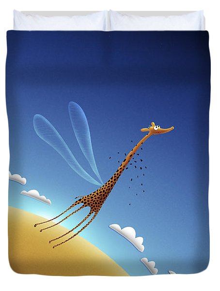 Illustration Of A Giraffe Learning Duvet Cover by Vlad Gerasimov