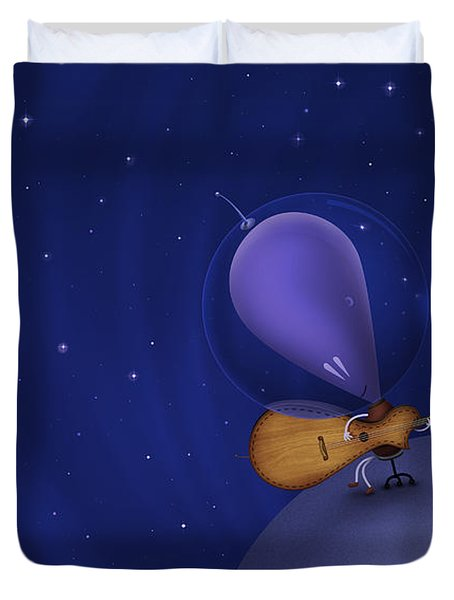 Illustration Of A Martian Playing Duvet Cover by Vlad Gerasimov