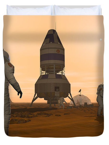 Illustration Of Astronauts Setting Duvet Cover by Walter Myers