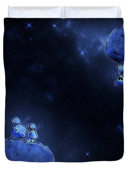 Illustration Of Humans And Aliens Duvet Cover by Vlad Gerasimov
