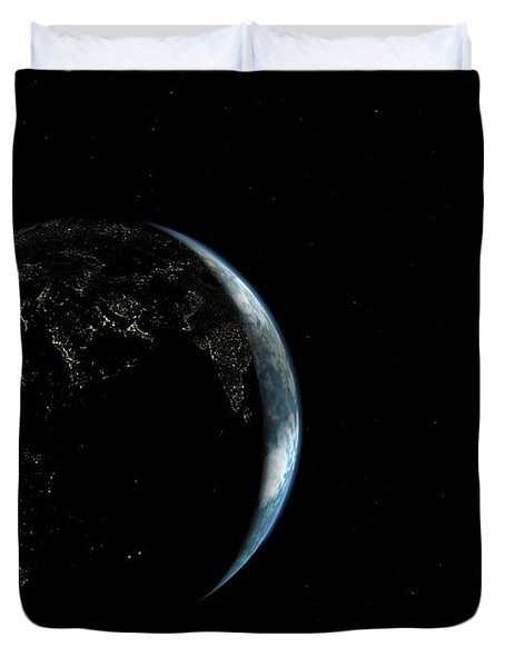 Illustration Of The City Lights Duvet Cover by Walter Myers