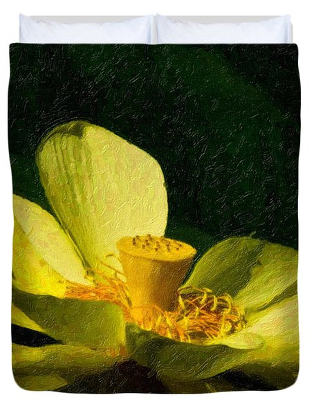 Duvet Cover featuring the photograph Impasto Lotus by Travis Burgess
