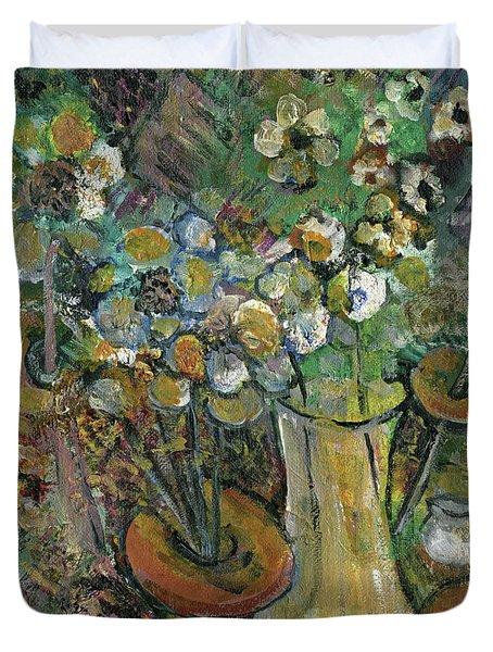 Impression Of Flowers Vase Duvet Cover by Rachel Hershkovitz