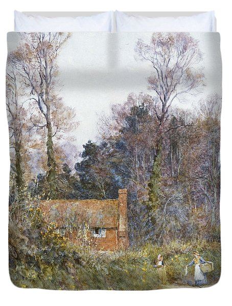 In A Witley Lane Duvet Cover by Helen Allingham