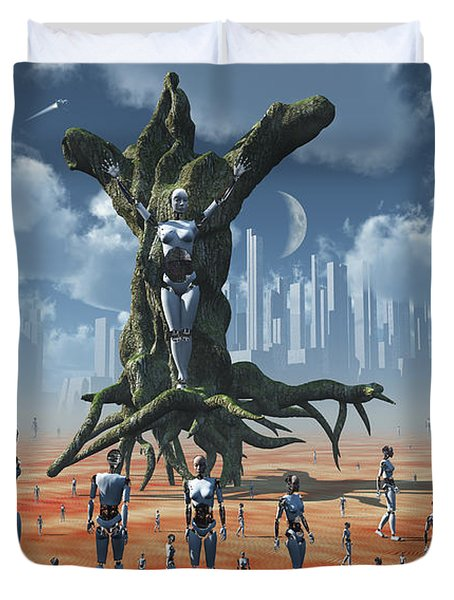In An Alternate Reality Cyborgs Pay Duvet Cover by Mark Stevenson