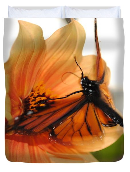 Duvet Cover featuring the photograph In Flight... by Michael Frank Jr