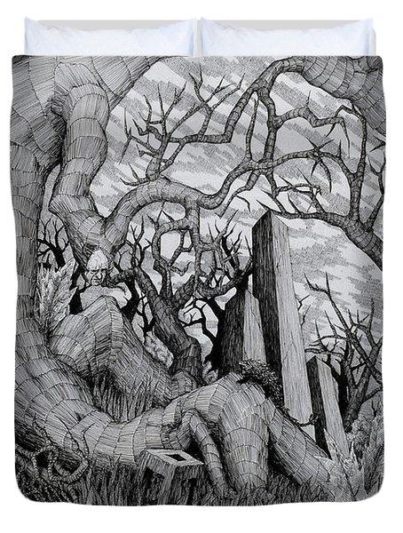 Duvet Cover featuring the drawing in my garden II by Mariusz Zawadzki