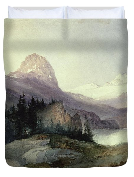 In The Bighorn Mountains Duvet Cover by Thomas Moran