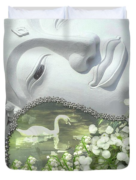 Duvet Cover featuring the digital art In The Garden by Diane Clancy