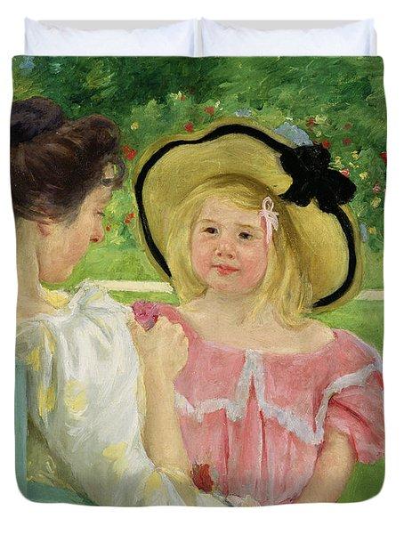In The Garden Duvet Cover by Mary Stevenson Cassatt