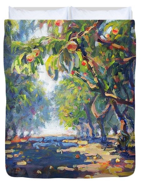 In The Peach Orchard Duvet Cover by Margaret  Plumb