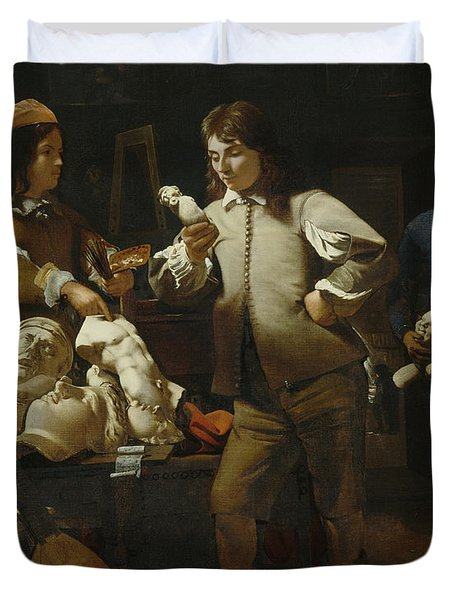 In The Studio Duvet Cover by Michael Sweerts