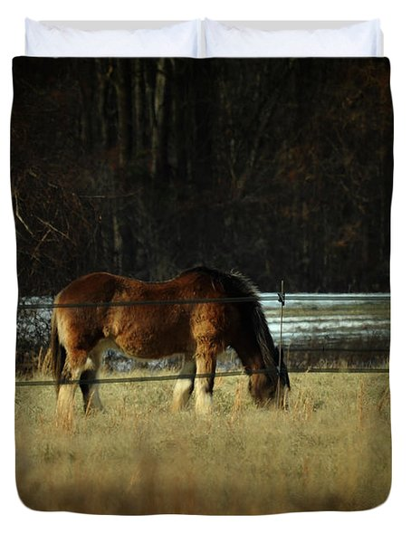 In The Winter Pasture Duvet Cover by Rebecca Sherman