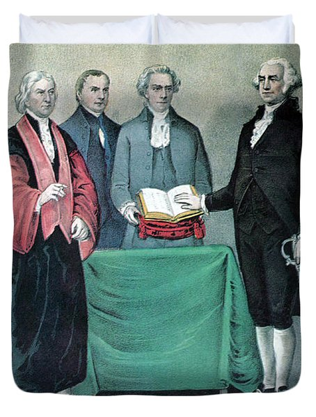 Inauguration Of George Washington, 1789 Duvet Cover by Photo Researchers