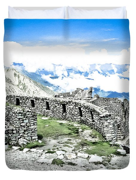 Inca Observatory Ruins Duvet Cover by Darcy Michaelchuk