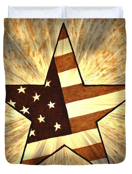 Independence Day Stary American Flag Duvet Cover by Georgeta  Blanaru