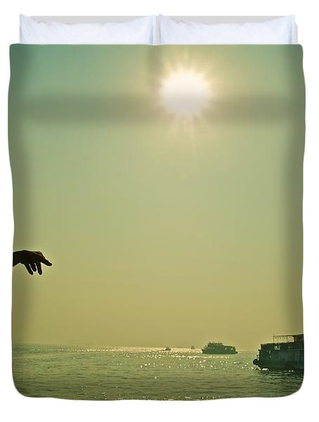 Indian Guide On The Sea Duvet Cover by Valerie Rosen
