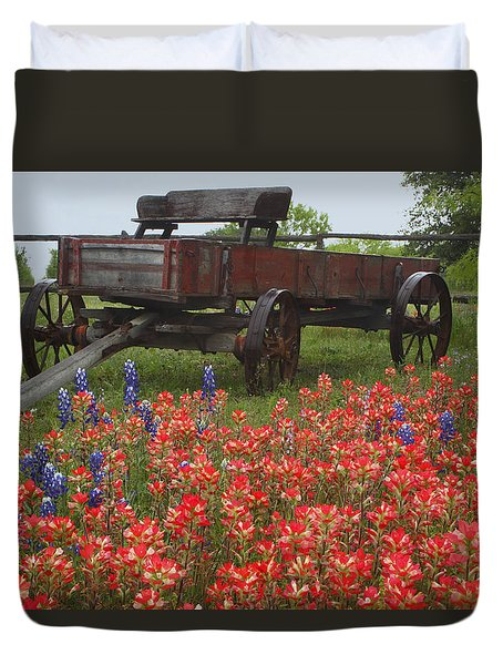 Indian Paintbrush And Wagon Duvet Cover