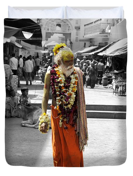 Indian Sadhu At A Religious Spot In India Duvet Cover by Sumit Mehndiratta