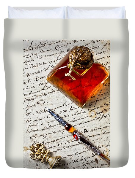 Ink Bottle And Pen  Duvet Cover by Garry Gay