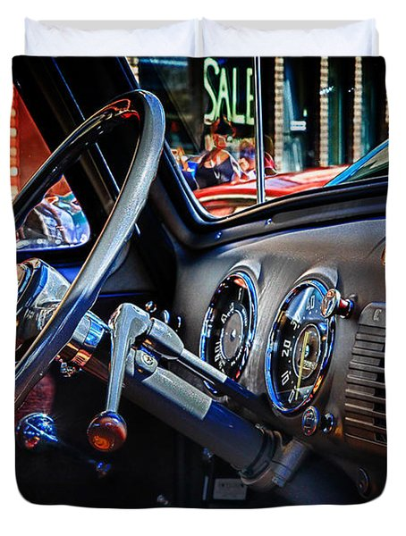 Inside Chevy Duvet Cover by Lori Frostad