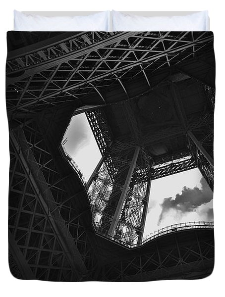 Duvet Cover featuring the photograph Inside The Eiffel Tower by Eric Tressler