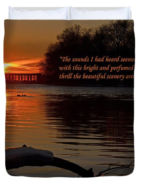 Inspirational Sunset With Quote Duvet Cover by Sue Stefanowicz