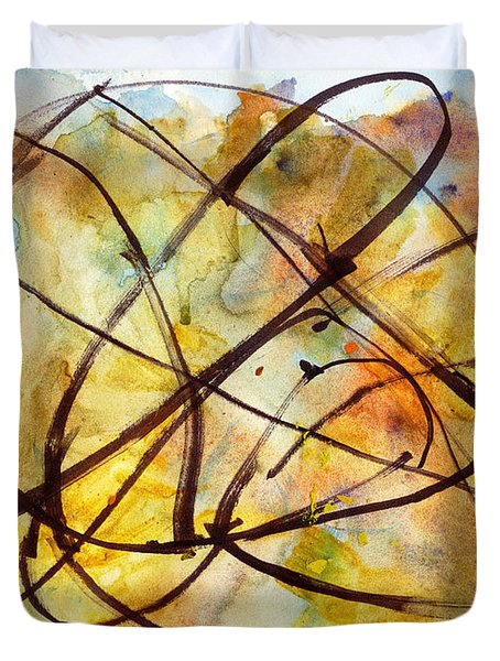Duvet Cover featuring the painting Inverno Abstract Watercolor by Chriss Pagani
