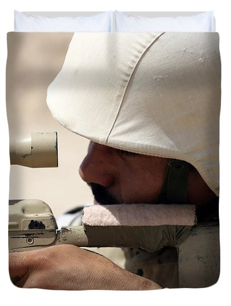 Iraqi Army Sergeant Sights Duvet Cover by Stocktrek Images