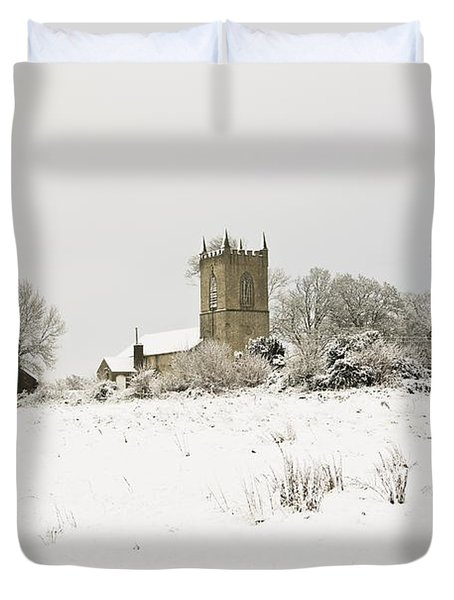 Ireland Winter Landscape With Church Duvet Cover by Peter McCabe