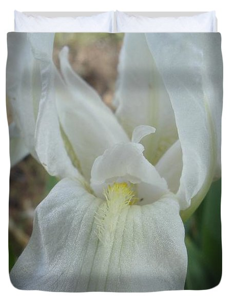 Duvet Cover featuring the photograph Iris Angel by Kerri Mortenson