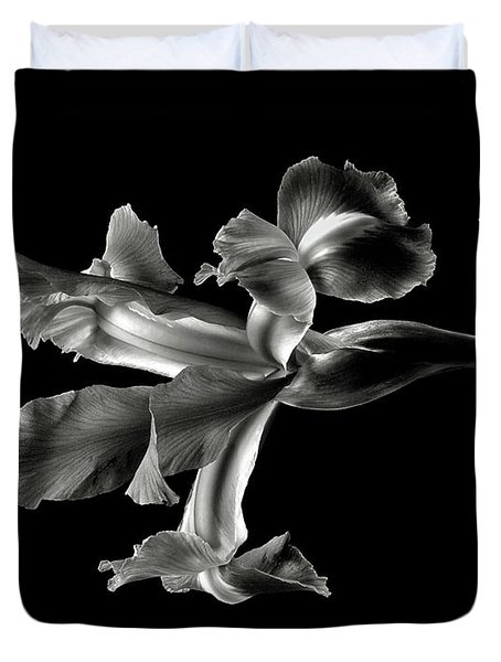 Iris In Black And White Duvet Cover