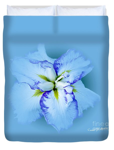 Iris In Blue Duvet Cover