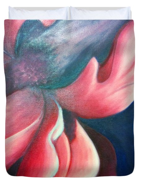 Duvet Cover featuring the painting Iris O'keefe by Vonda Lawson-Rosa