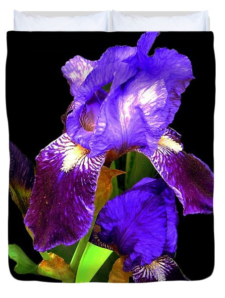 Iris On Black Duvet Cover