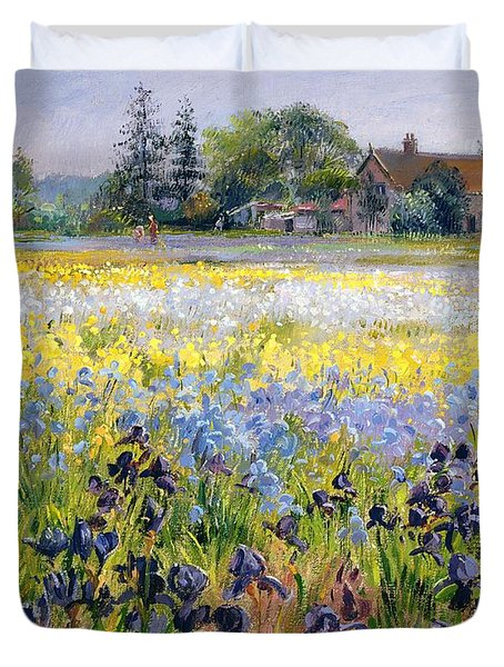 Irises And Two Fir Trees Duvet Cover by Timothy Easton