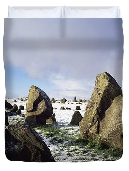 Irish Snow Scenes Co Tyrone, Beaghmore Duvet Cover by The Irish Image Collection