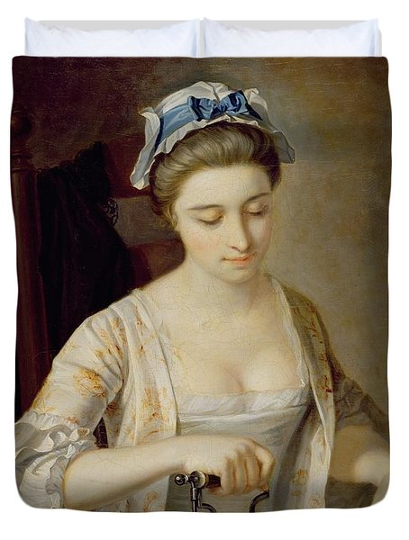 Ironing Duvet Cover by Henry Robert Morland