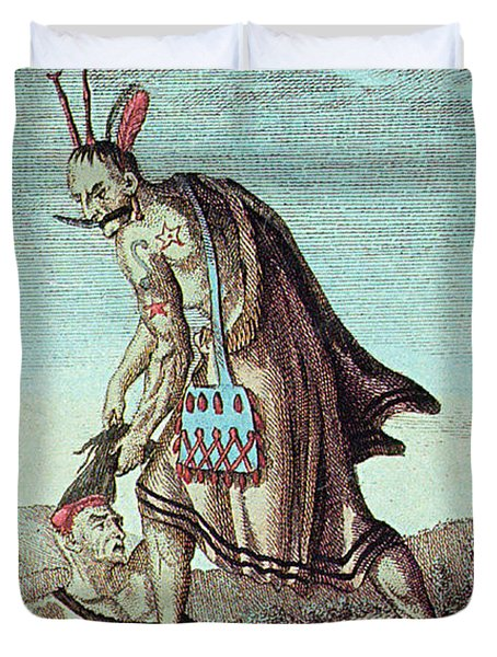 Iroquois Warrior Scalping Enemy, 1814 Duvet Cover by Photo Researchers