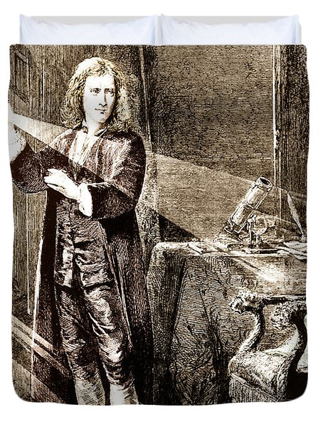 Isaac Newton Ray Of Light Duvet Cover by Science Source