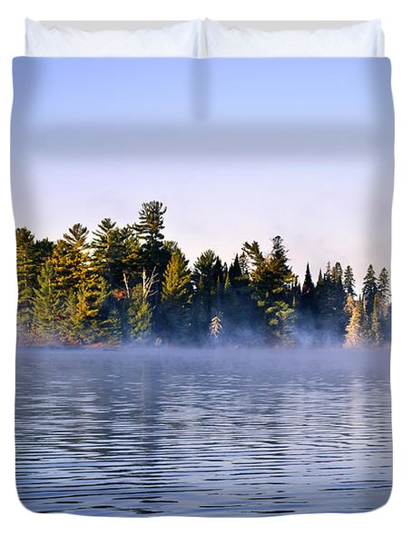 Island In Lake With Morning Fog Duvet Cover by Elena Elisseeva