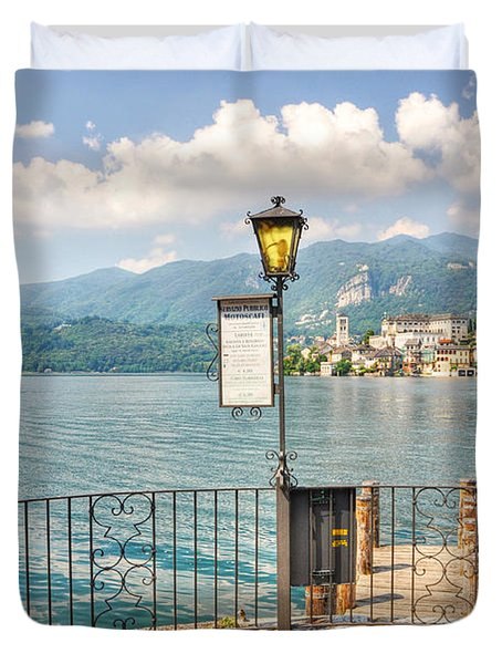 Island San Giulio On Lake Orta Duvet Cover