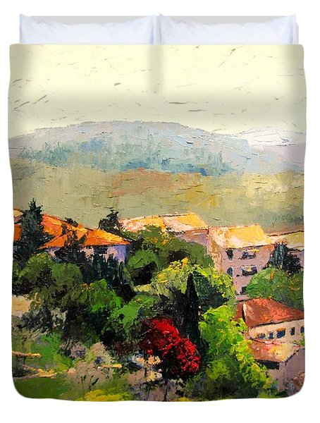 Italian Hillside Village Oil Painting Duvet Cover