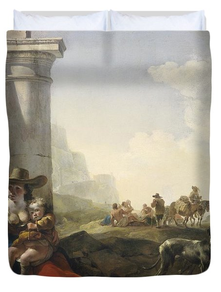 Italian Peasants Among Ruins Duvet Cover by Jan Weenix
