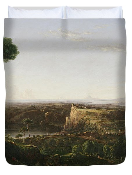 Italian Scene Composition Duvet Cover by Thomas Cole