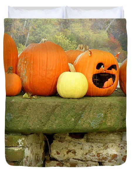 Duvet Cover featuring the photograph Jack-0-lanterns by Lainie Wrightson