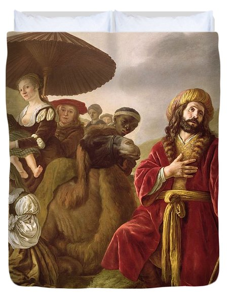 Jacob Seeking Forgiveness Of Esau Duvet Cover by Jan Victoors