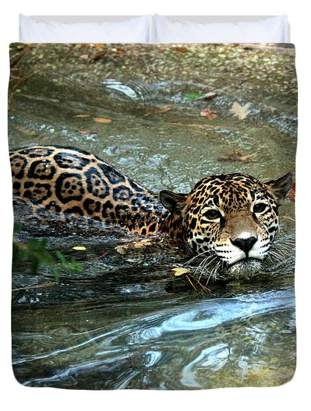 Duvet Cover featuring the photograph Jaguar In For A Swim by Kathy  White