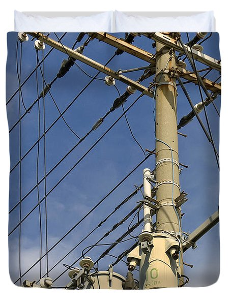 Japan Power Utility Pole Duvet Cover by Daniel Hagerman