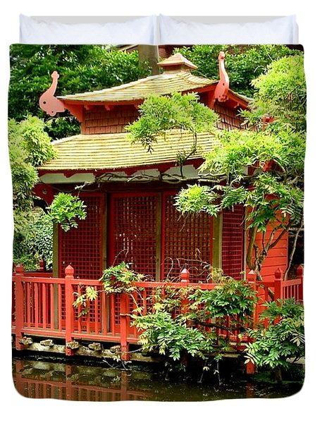 Duvet Cover featuring the photograph Japanese Garden by Katy Mei
